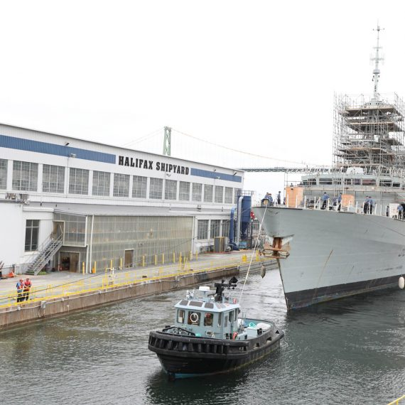 HMCS Charlottetown arrives at Halifax Shipyard