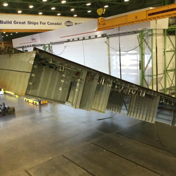 Flipping a 50 tonne unit of the future HMCS Margaret Brooke