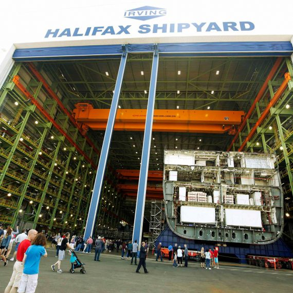 Moving two-thirds of a future Canadian Navy ship at Halifax Shipyard