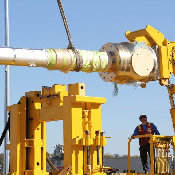 The future HMCS Harry Dewolf propulsion shaft installation