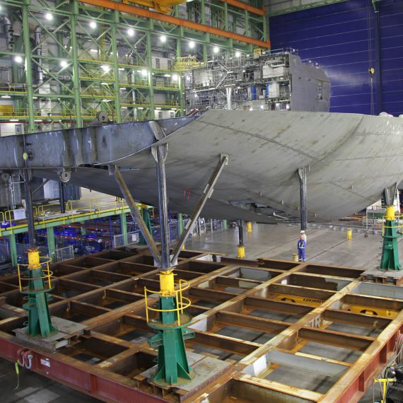 Flipping a 130 tonne unit of the future HMCS Margaret Brooke