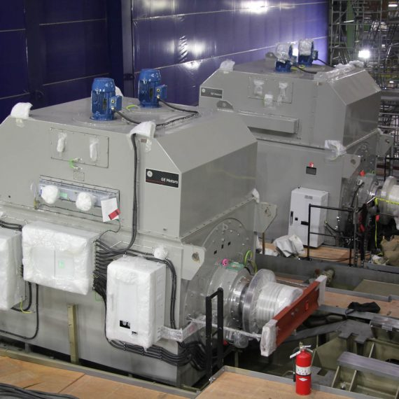 The ship's twin propulsion motors are mounted on the stern mega-block.