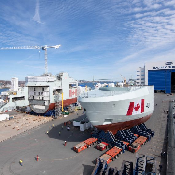 Transporting the bow mega-block of Canada's second AOPS