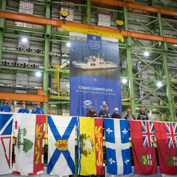 Members of the Royal Canadian Navy, government officials and the workforce at Halifax Shipyard gather to celebrate the official start of construction on AOPS 4, the future HMCS William Hall.