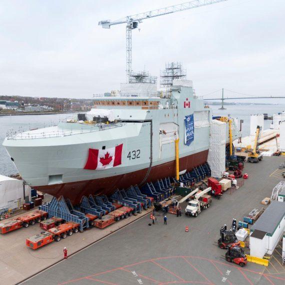 Final Mega Block move the future HMCS Max Bernays, Canada's Third Arctic & Offshore Patrol Ship.