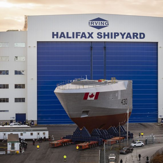 Moving the Final Mega Block of the Future HMCS Harry DeWolf