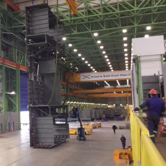 Unit 746 is turned at Halifax Shipyard to prepare for installation