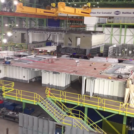 Units 746 and 726 are stacked and prepared for installation on HMCS Harry DeWolf at Halifax Shipyard